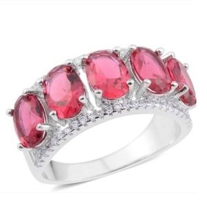 Simulated Ruby, Simulated Diamond Silvertone Ring